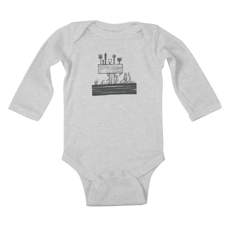 Don't Worry, Be Hoppy Kids Baby Longsleeve Bodysuit by Democratee