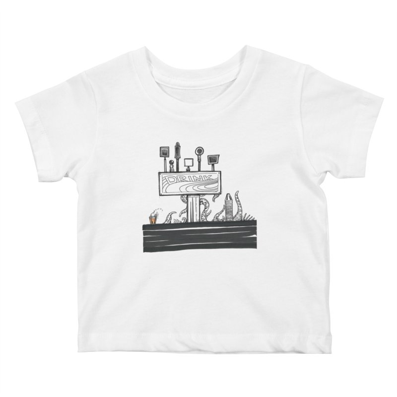 Don't Worry, Be Hoppy Kids Baby T-Shirt by Democratee