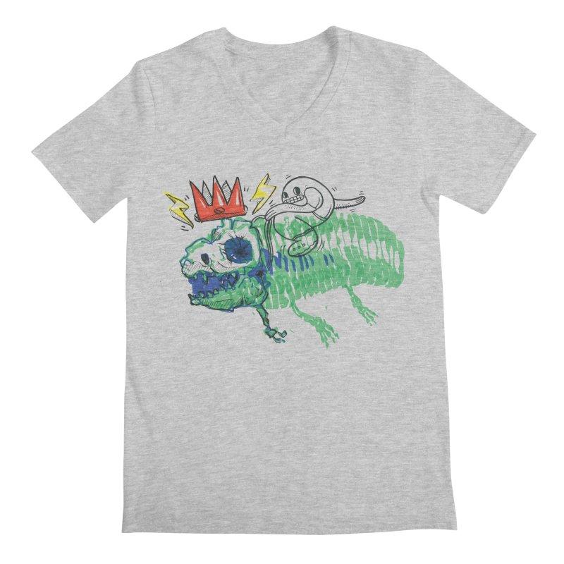 Tyrant Lizard King Men's Regular V-Neck by Democratee