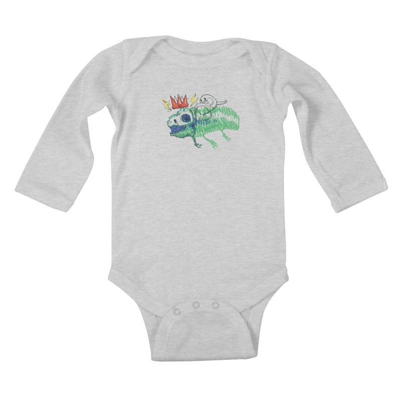 Tyrant Lizard King Kids Baby Longsleeve Bodysuit by Democratee