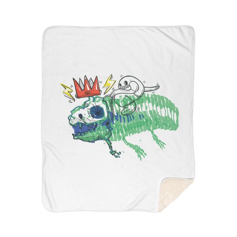 Tyrant Lizard King Home Sherpa Blanket Blanket by Democratee