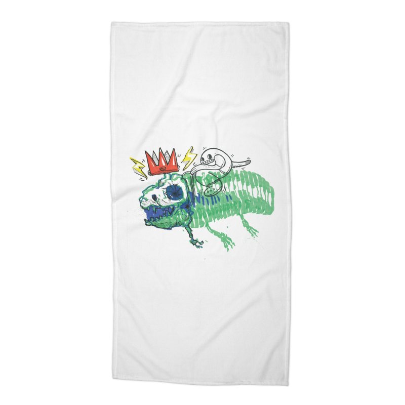 Tyrant Lizard King Accessories Beach Towel by Democratee