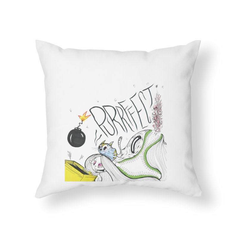 Purrffection Home Throw Pillow by Democratee