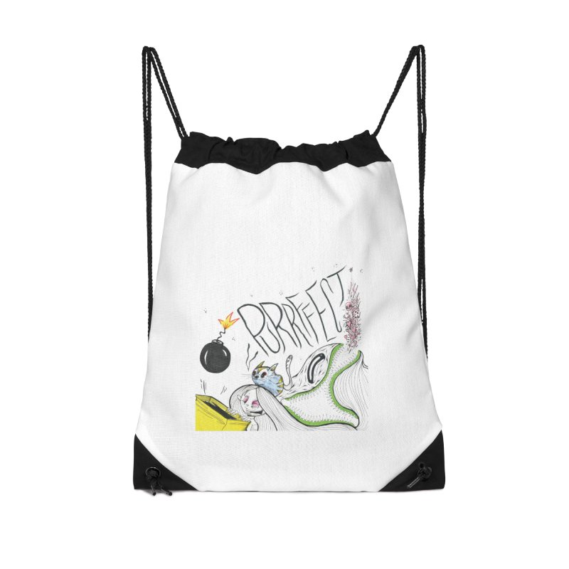 Purrffection Accessories Drawstring Bag Bag by Democratee