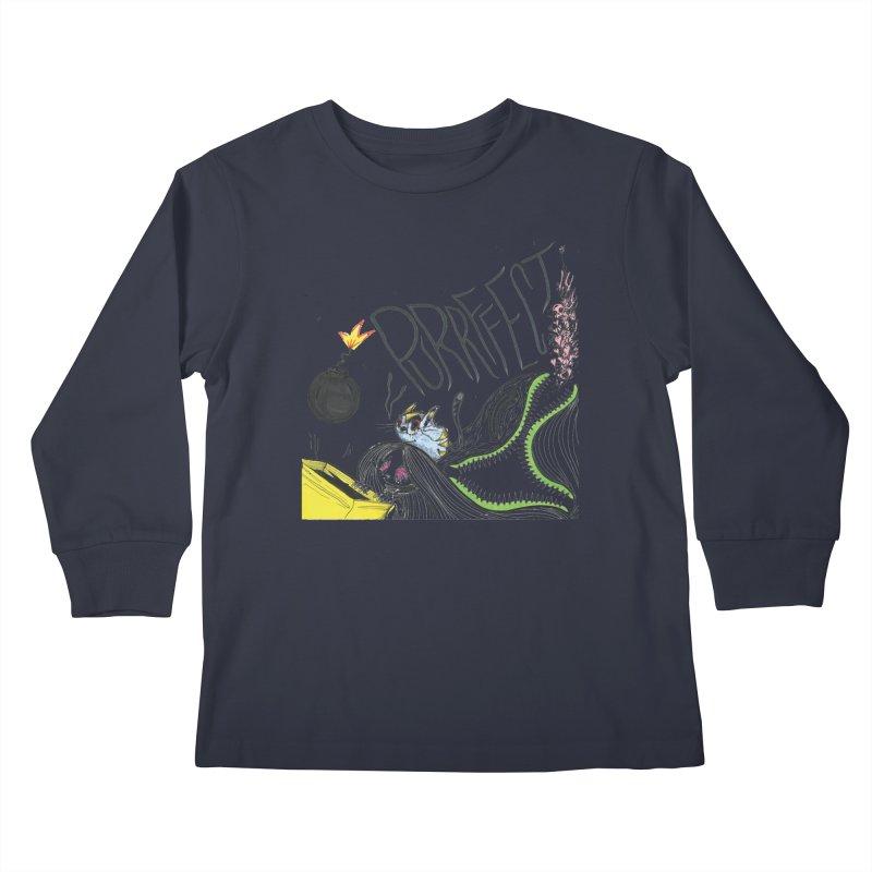 Purrffection Kids Longsleeve T-Shirt by Democratee