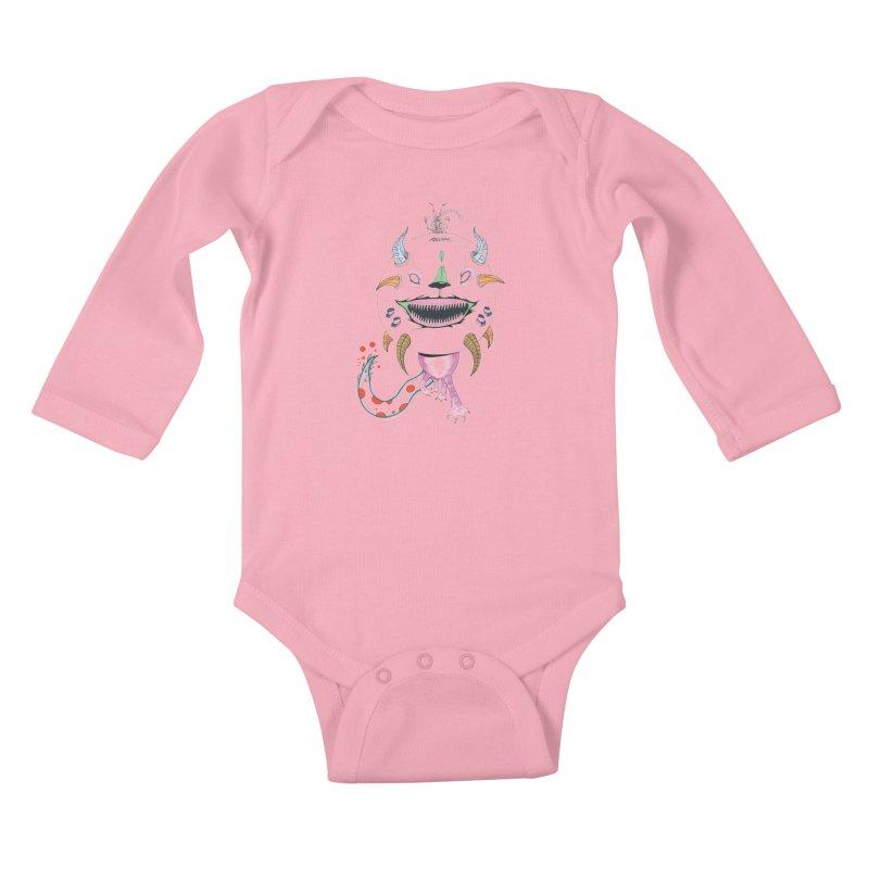 Horned Purple People Eater Kids Baby Longsleeve Bodysuit by Democratee