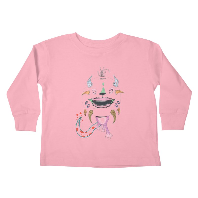 Horned Purple People Eater Kids Toddler Longsleeve T-Shirt by Democratee