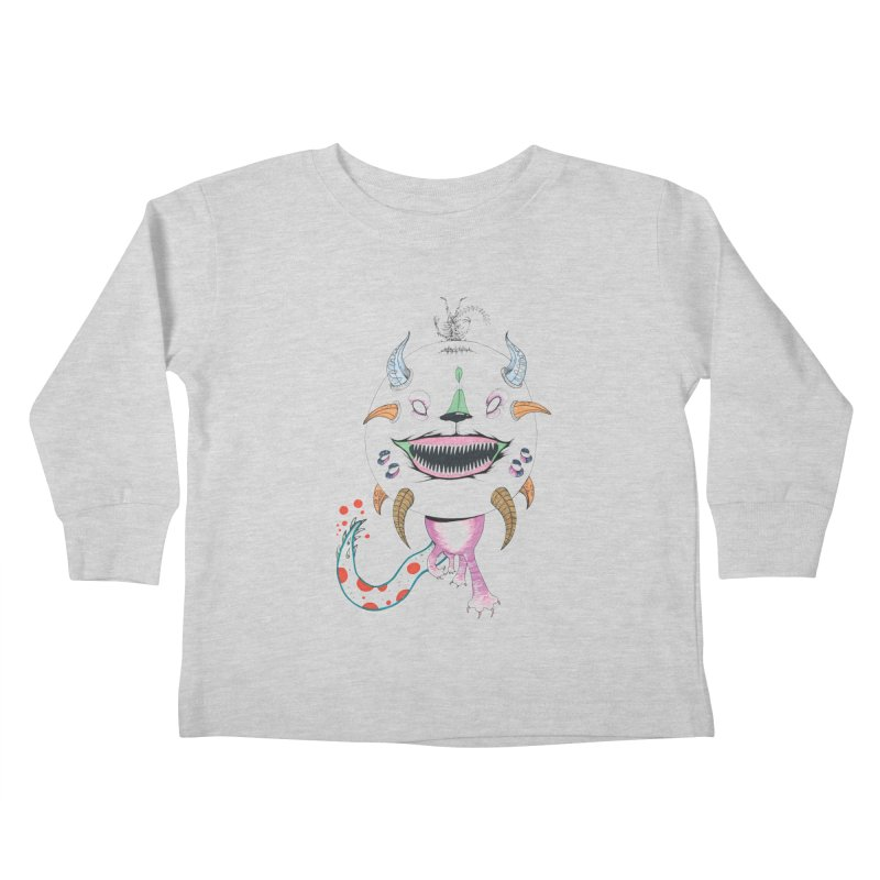 Horned Purple People Eater Kids Toddler Longsleeve T-Shirt by Democratee