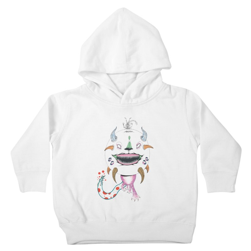 Horned Purple People Eater Kids Toddler Pullover Hoody by Democratee