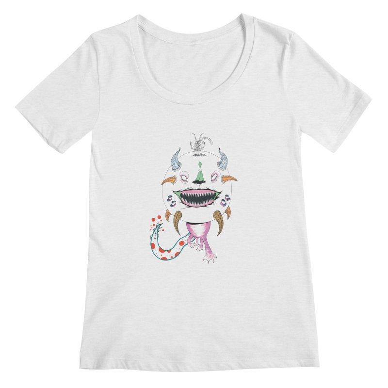 Horned Purple People Eater Women's Regular Scoop Neck by Democratee