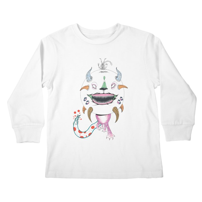 Horned Purple People Eater Kids Longsleeve T-Shirt by Democratee