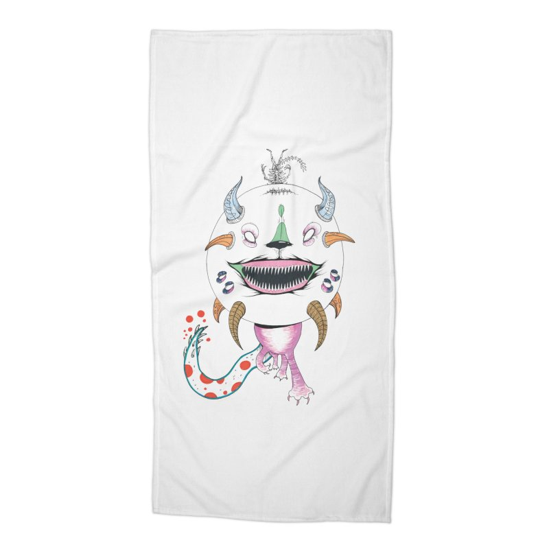 Horned Purple People Eater Accessories Beach Towel by Democratee