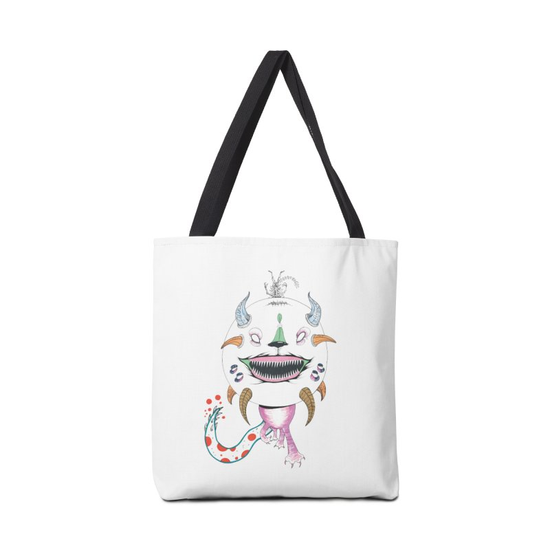 Horned Purple People Eater Accessories Tote Bag Bag by Democratee