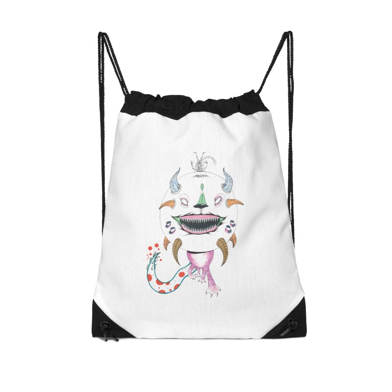 Horned Purple People Eater Accessories Drawstring Bag Bag by Democratee