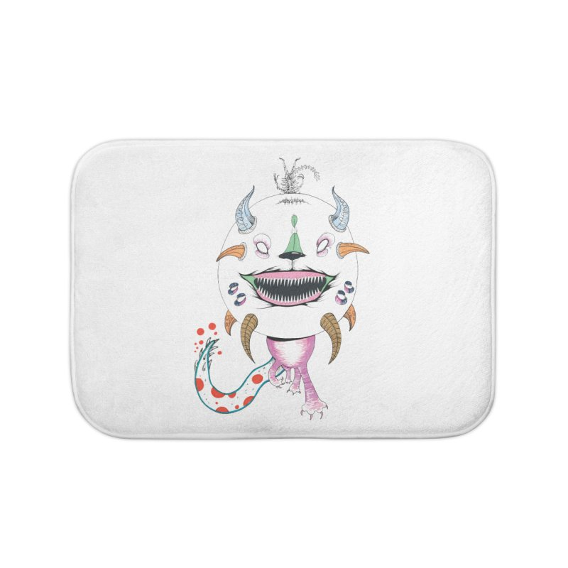 Horned Purple People Eater Home Bath Mat by Democratee