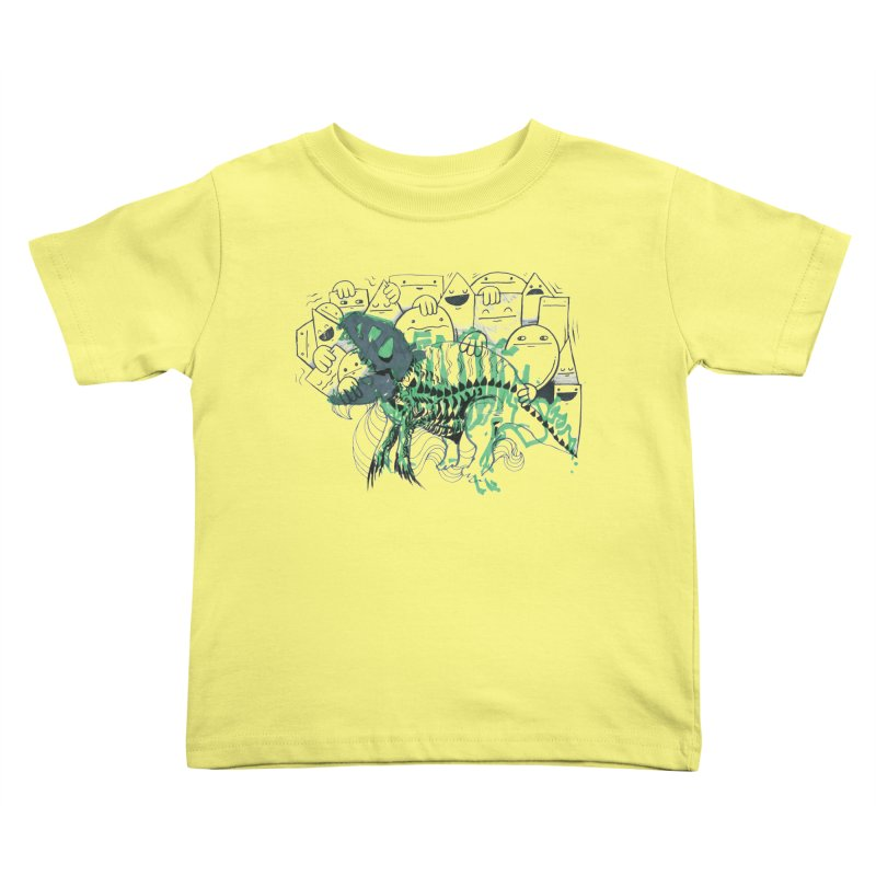 The Beast of Shapesville in Kids Toddler T-Shirt Lemon by Democratee
