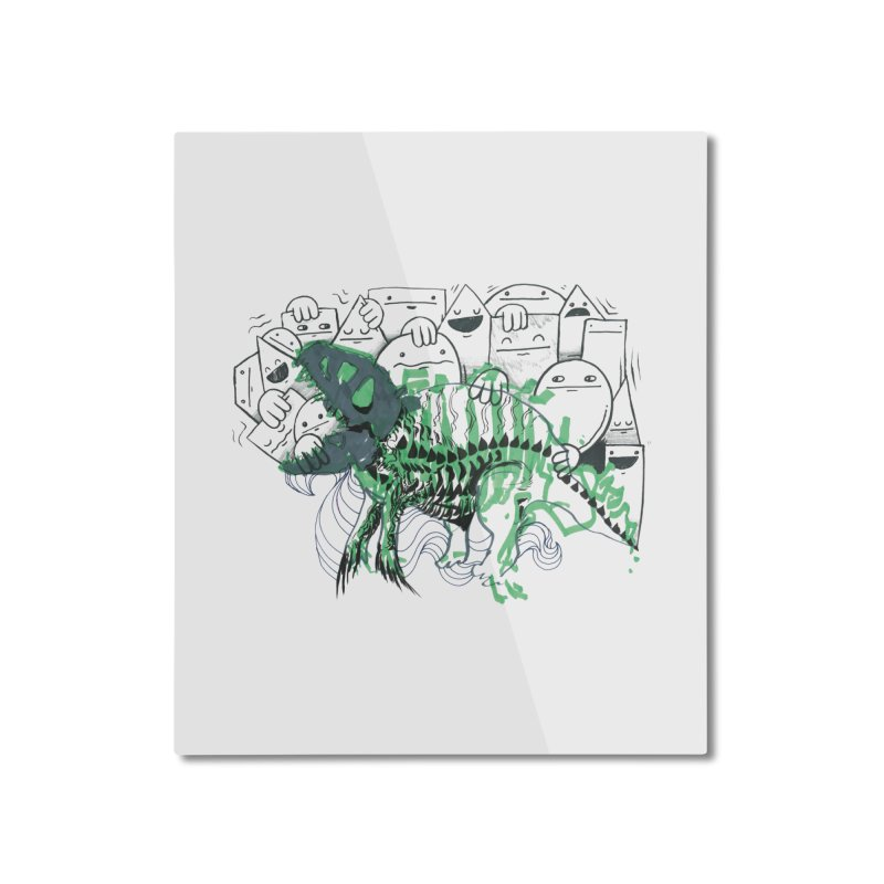 The Beast of Shapesville Home Mounted Aluminum Print by Democratee