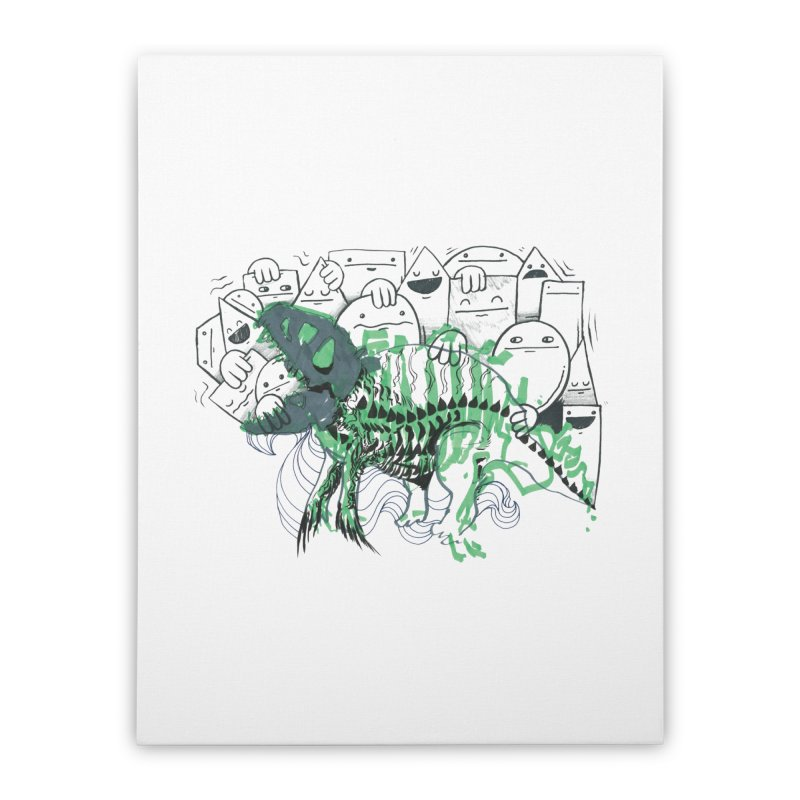 The Beast of Shapesville Home Stretched Canvas by Democratee