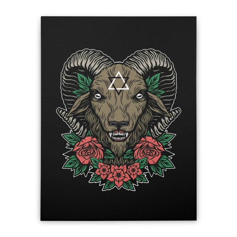 Dark Goat Home Stretched Canvas by Deniart's Artist Shop