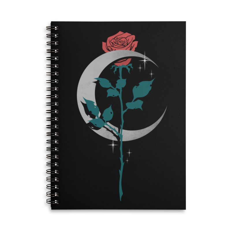 Moon Rose Accessories Lined Spiral Notebook by Deniart's Artist Shop
