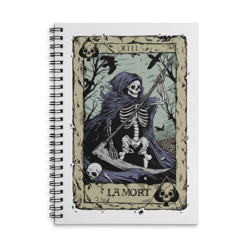 Death Card Accessories Lined Spiral Notebook by Deniart's Artist Shop