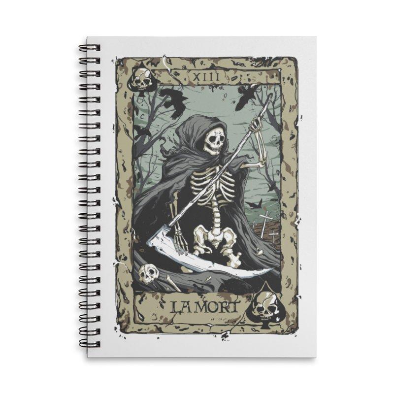 Death Card Accessories Lined Spiral Notebook by Deniart's Artist Shop