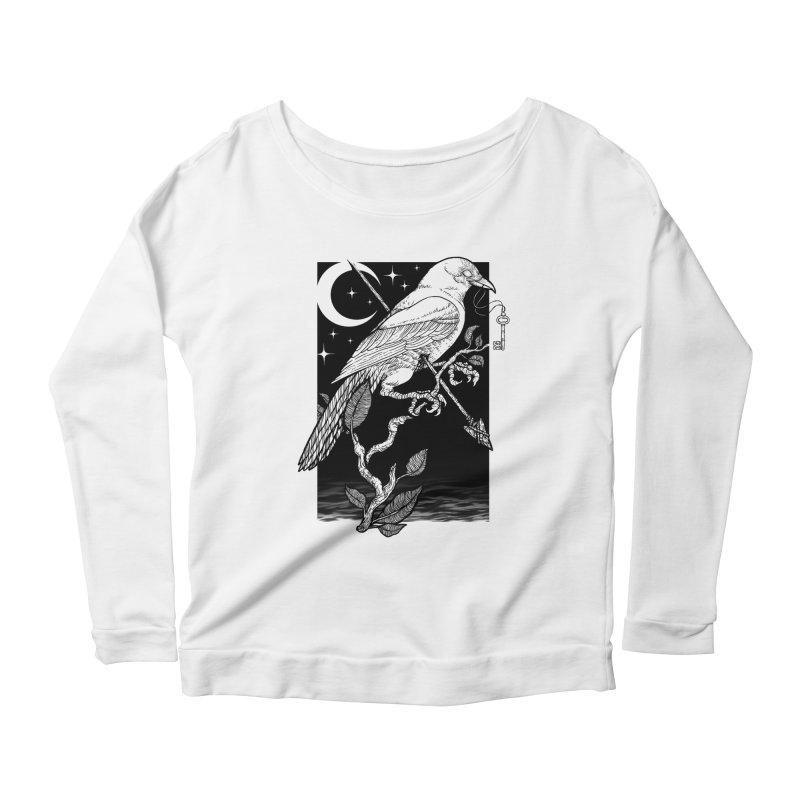 Night Crow Women's Scoop Neck Longsleeve T-Shirt by Deniart's Artist Shop