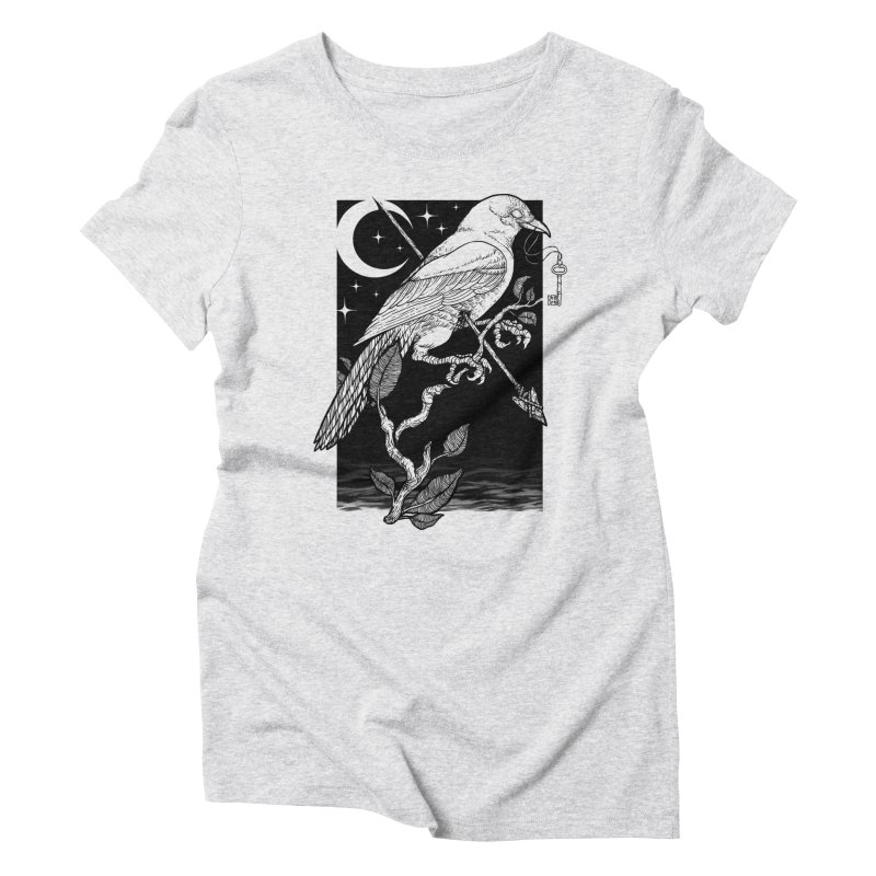 Night Crow Women's Triblend T-Shirt by Deniart's Artist Shop