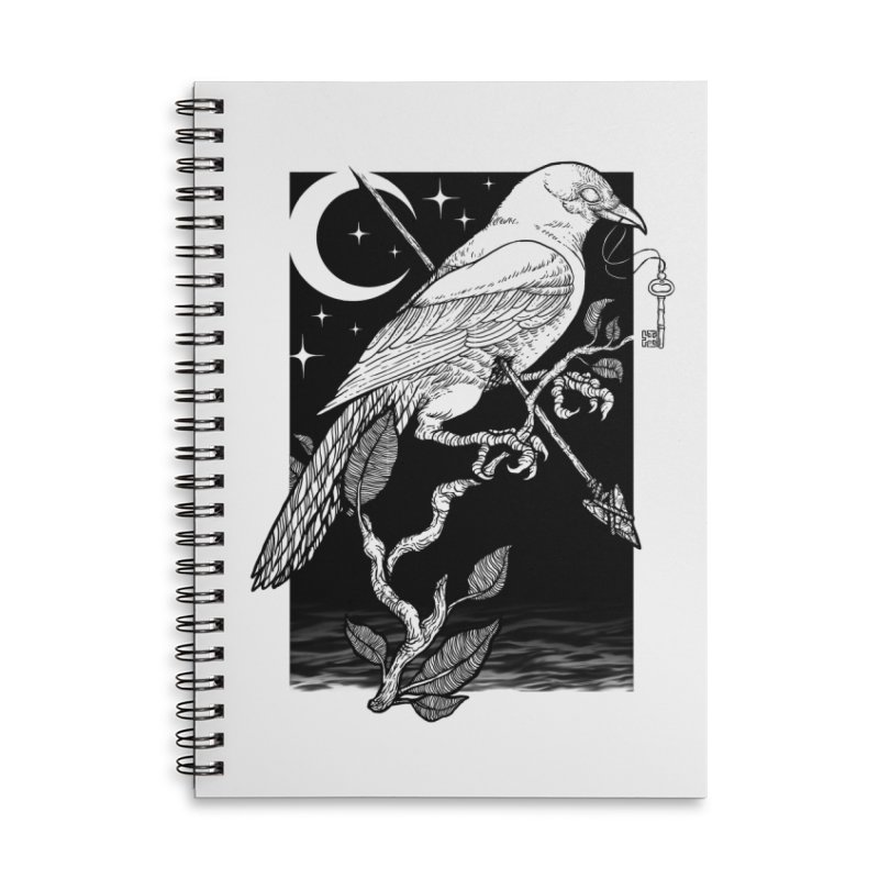 Night Crow Accessories Lined Spiral Notebook by Deniart's Artist Shop