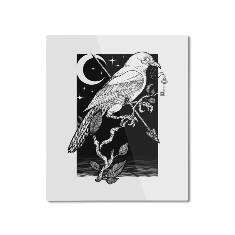Night Crow Home Mounted Aluminum Print by Deniart's Artist Shop