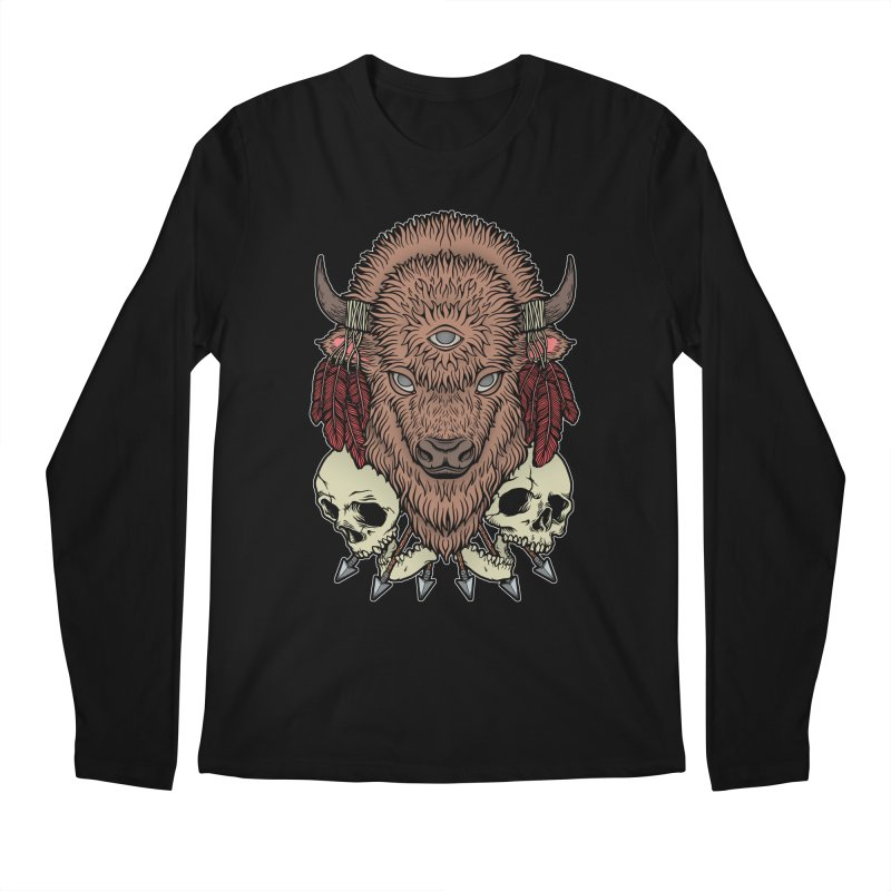Wild Bison Men's Regular Longsleeve T-Shirt by Deniart's Artist Shop