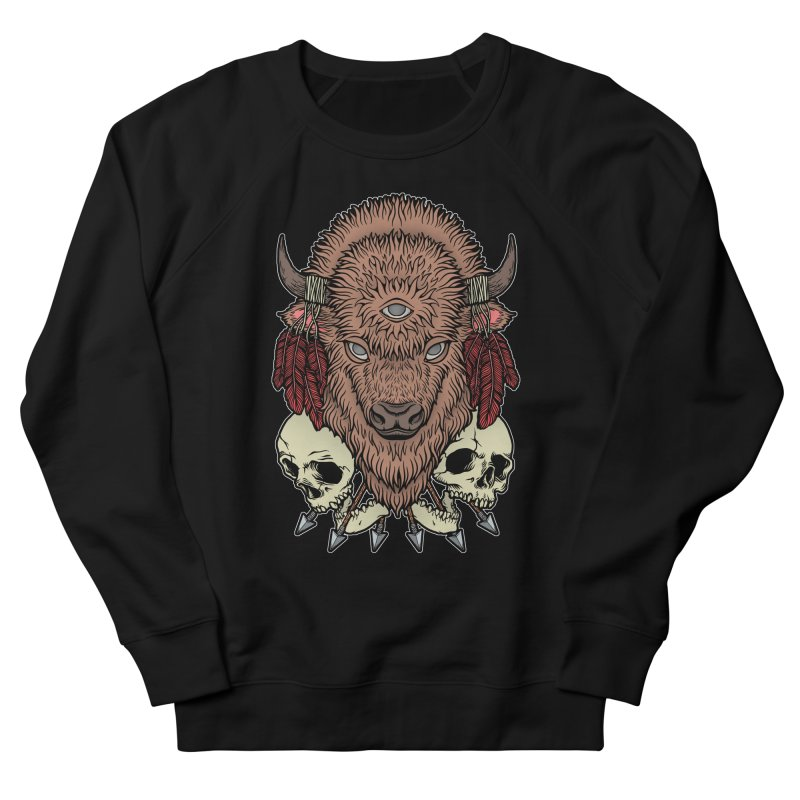 Wild Bison Women's French Terry Sweatshirt by Deniart's Artist Shop