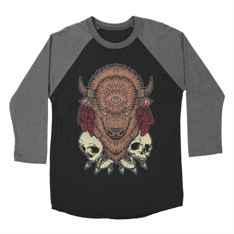 Wild Bison Women's Baseball Triblend Longsleeve T-Shirt by Deniart's Artist Shop