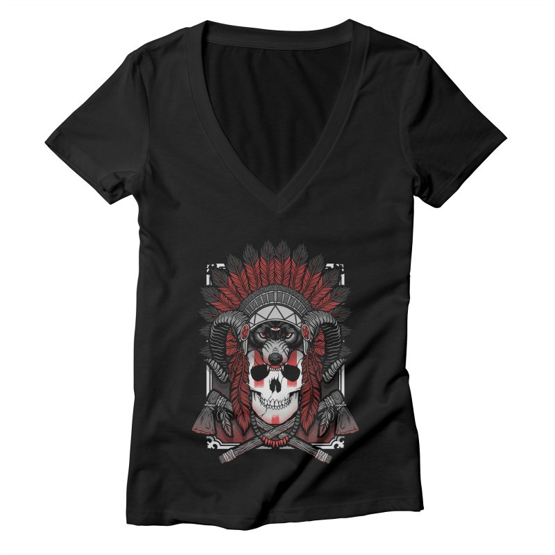 Native Skull Women's Deep V-Neck V-Neck by Deniart's Artist Shop