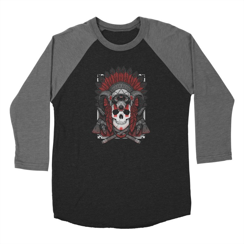 Native Skull Women's Baseball Triblend Longsleeve T-Shirt by Deniart's Artist Shop