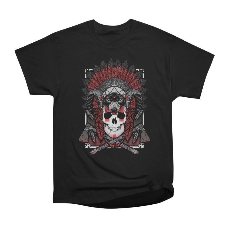 Native Skull Women's Heavyweight Unisex T-Shirt by Deniart's Artist Shop