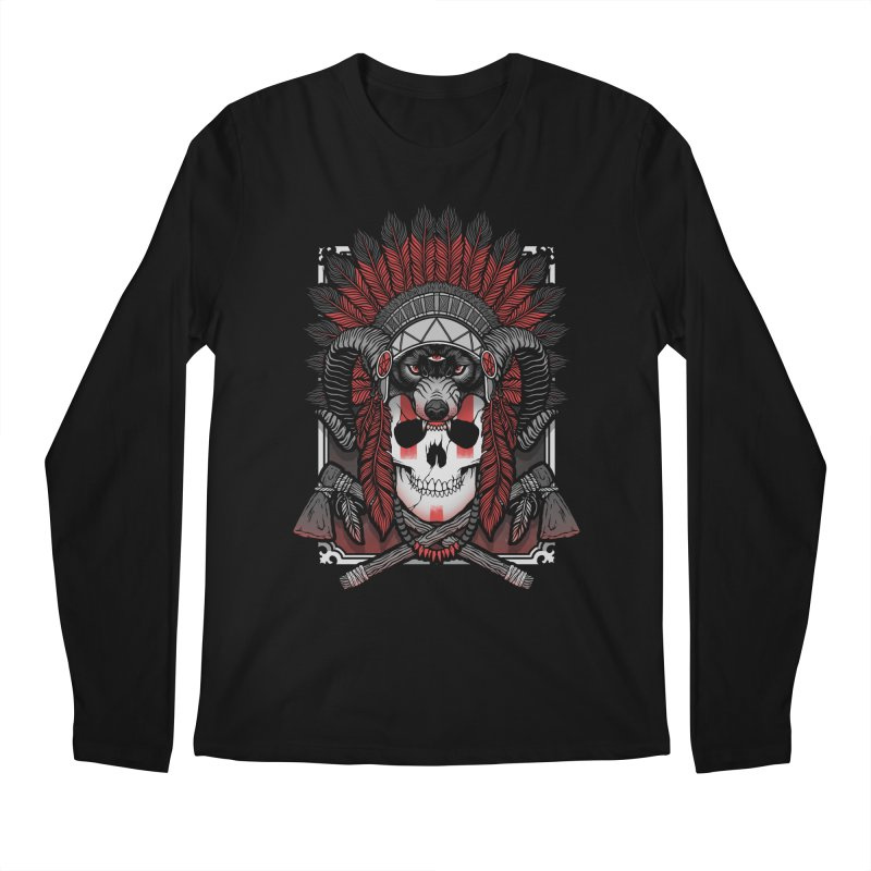 Native Skull Men's Regular Longsleeve T-Shirt by Deniart's Artist Shop