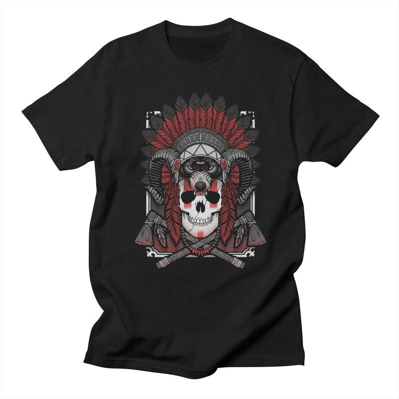 Native Skull Men's Regular T-Shirt by Deniart's Artist Shop