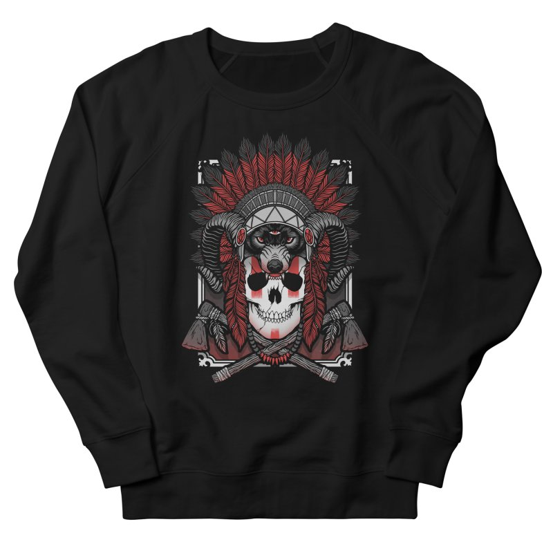 Native Skull Men's French Terry Sweatshirt by Deniart's Artist Shop