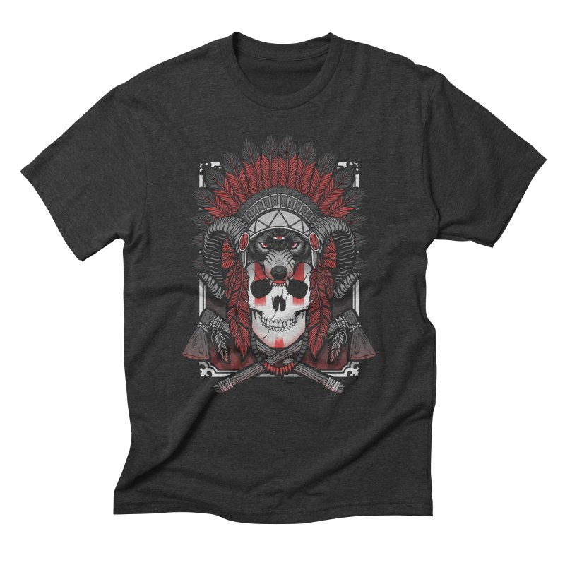 Native Skull Men's Triblend T-Shirt by Deniart's Artist Shop
