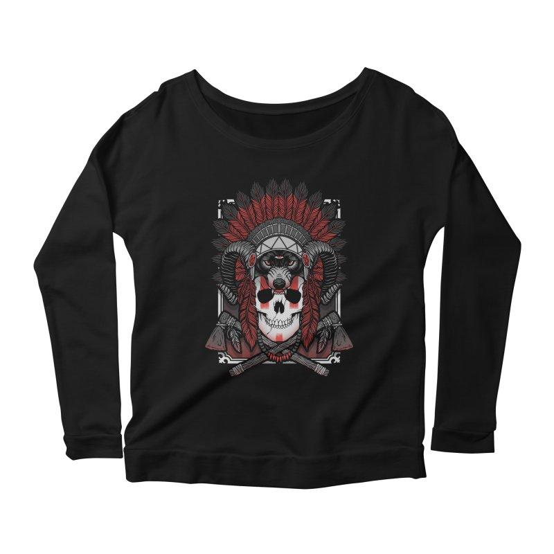 Native Skull Women's Scoop Neck Longsleeve T-Shirt by Deniart's Artist Shop