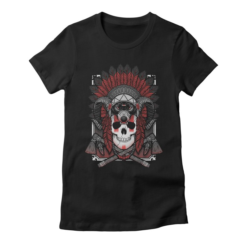 Native Skull Women's Fitted T-Shirt by Deniart's Artist Shop