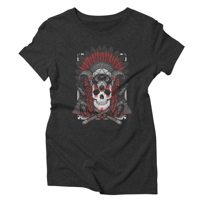 Native Skull Women's Triblend T-Shirt by Deniart's Artist Shop