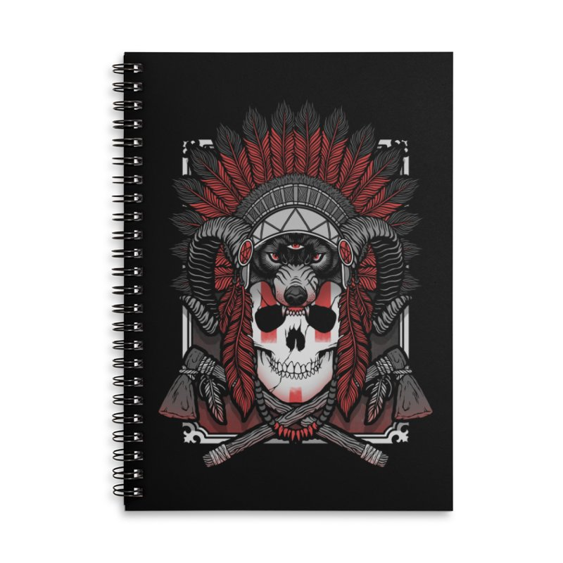 Native Skull Accessories Lined Spiral Notebook by Deniart's Artist Shop