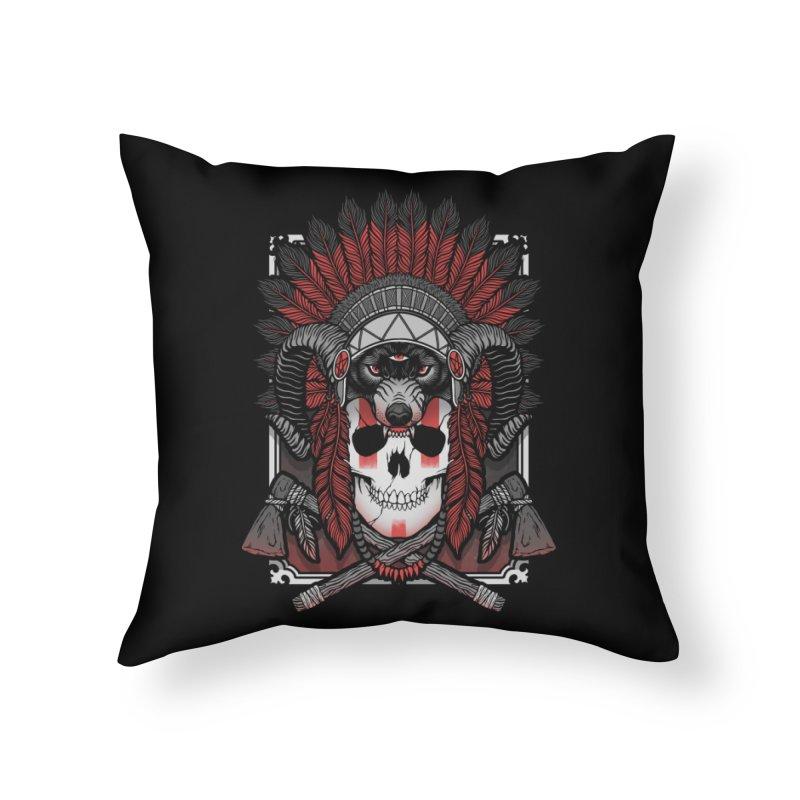 Native Skull Home Throw Pillow by Deniart's Artist Shop