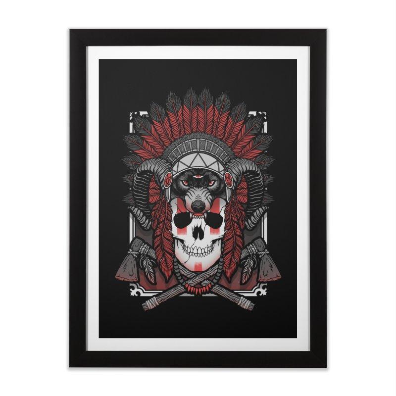 Native Skull Home Framed Fine Art Print by Deniart's Artist Shop