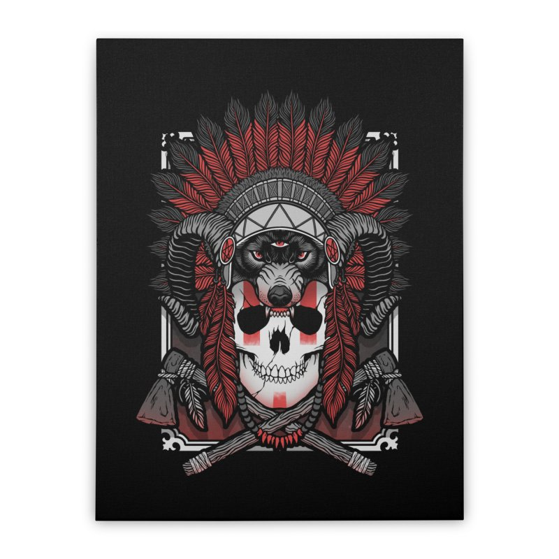 Native Skull Home Stretched Canvas by Deniart's Artist Shop