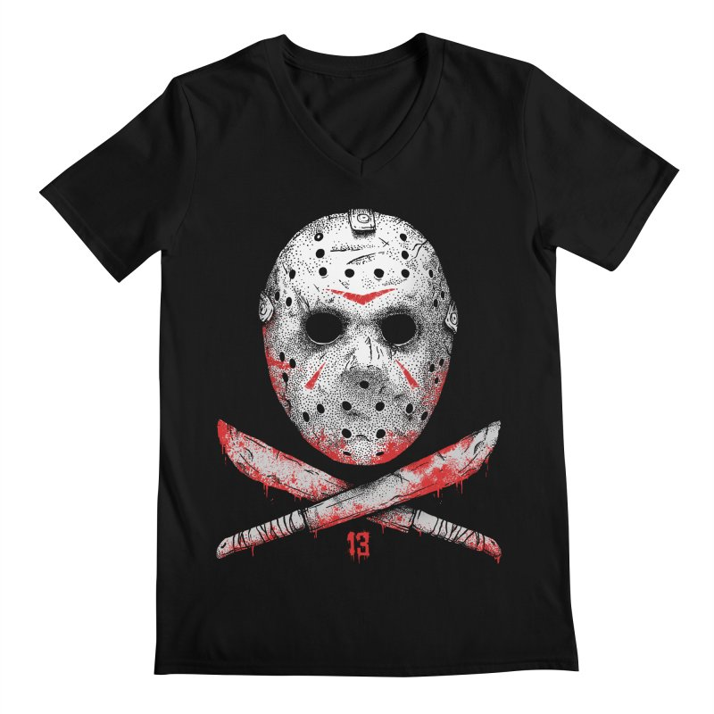 Friday 13 Men's Regular V-Neck by Deniart's Artist Shop