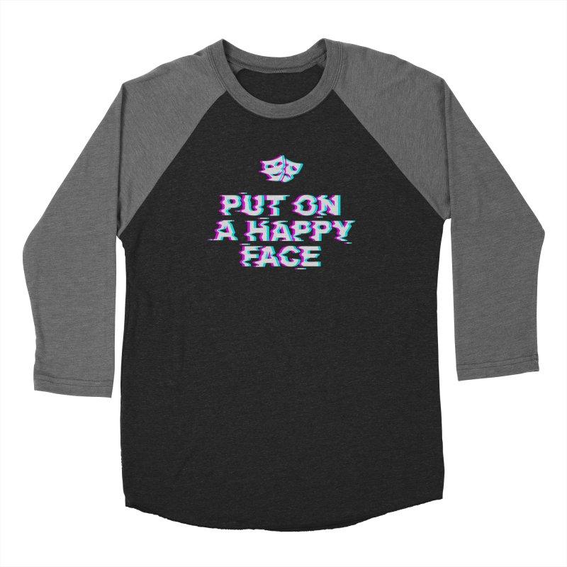 Put On a Happy Face Women's Baseball Triblend Longsleeve T-Shirt by Deniart's Artist Shop