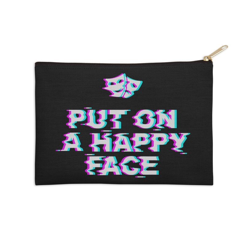 Put On a Happy Face Accessories Zip Pouch by Deniart's Artist Shop